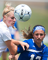 NWA Democrat-Gazette/CHARLIE KAIJO Rogers High School midfielder Jourdan Badely (13) and Southside High School Maddison Hagen (15) fight for possession of a pass during the semifinals of the 7A Girls State Soccer Tournament, Saturday, May 12, 2018 at Whitey Smith Stadium at Rogers High School in Rogers. Rogers advanced to the finals when midfielder Skylurr Patrick (3) scored both of Rogers' goals defeating Southside High School, 2-1.