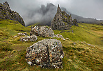 Isle of Skye, Scotland: Large colorful boulders and Needle Rock emerge from the fog at the Storr