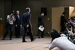Toshiba Corp. President Satoshi Tsunakawa leaves a news conference at the company headquarters on August 10, 2017, Tokyo, Japan. Tsunakawa reported approximate 965.7 billion yen ($8.8 billion)loss for itsFiscal Year 2016 to March 31, 2017. Toshiba avoided being delisted from Tokyo Stock Exchange by announcing its delayed financial results. (Photo by Rodrigo Reyes Marin/AFLO)