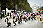 The peloton led by Team Sky on the Champs-Elysees during Stage 21 of the 2018 Tour de France running 116km from Houilles to Paris Champs-Elysees, France. 29th July 2018. <br /> Picture: ASO/Pauline Ballet | Cyclefile<br /> All photos usage must carry mandatory copyright credit (&copy; Cyclefile | ASO/Pauline Ballet)