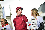 Ilnur Zakarin (RUS) Team Katusha Alpecin at team presentation before the start of the 105th edition of Li&egrave;ge-Bastogne-Li&egrave;ge 2019, La Doyenne, running 256km from Liege to Liege, Belgium. 27th April 2019<br /> Picture: ASO/Gautier Demouveaux | Cyclefile<br /> All photos usage must carry mandatory copyright credit (&copy; Cyclefile | ASO/Gautier Demouveaux)