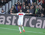 10.04.2013 Barcelona, Spain. Champions league Quarter-final row 2. Picture show Pastore after scoring during match between FC Barcelona against Paris SG at Camp Nou