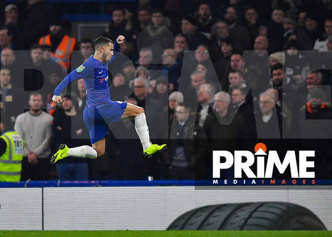 Eden Hazard of Chelsea celebrates scoring during the Carabao Cup Semi-Final 2nd leg match between Chelsea and Tottenham Hotspur at Stamford Bridge, London, England on 24 January 2019. Photo by Vince  Mignott / PRiME Media Images.