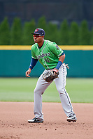 Gwinnett Stripers first baseman Carlos Franco (11) during a game against the Columbus Clippers on May 17, 2018 at Huntington Park in Columbus, Ohio.  Gwinnett defeated Columbus 6-0.  (Mike Janes/Four Seam Images)