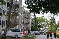 TANZANIA, Zanzibar, Stone town, old block buildings, build during 1970ies after architecture design from East Germany GDR