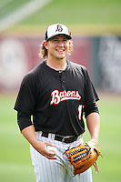Birmingham Barons pitcher Carson Fulmer (15) during practice before a game against the Pensacola Blue Wahoos on May 2, 2016 at Regions Field in Birmingham, Alabama.  Pensacola defeated Birmingham 6-3.  (Mike Janes/Four Seam Images)
