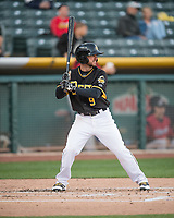 Shane Robinson (9) of the Salt Lake Bees at bat against the Sacramento River Cats in Pacific Coast League action at Smith's Ballpark on April 13, 2017 in Salt Lake City, Utah. Salt Lake defeated Sacramento 4-3. (Stephen Smith/Four Seam Images)