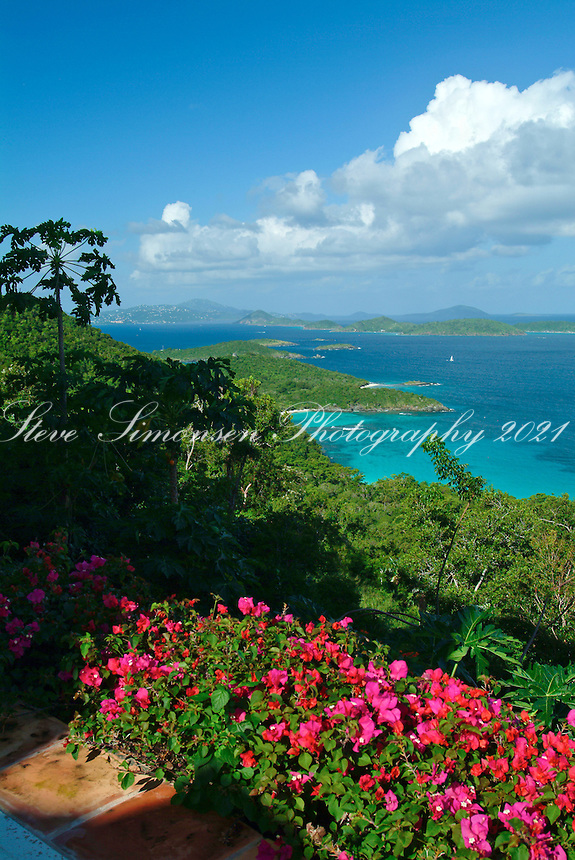 View of the north shore looking towards<br /> St. Thomas from St John<br /> U.S. Virgin Islands