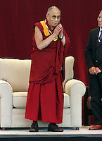 Tenzin Gyatso, His Holiness the14th Dalai Lama of Tibet, delivered a message of peace and compassion to 3,800 people at the nTelos Wireless Pavilion Thursday in Charlottesville, VA. Photo/The Daily Progress/Andrew Shurtleff