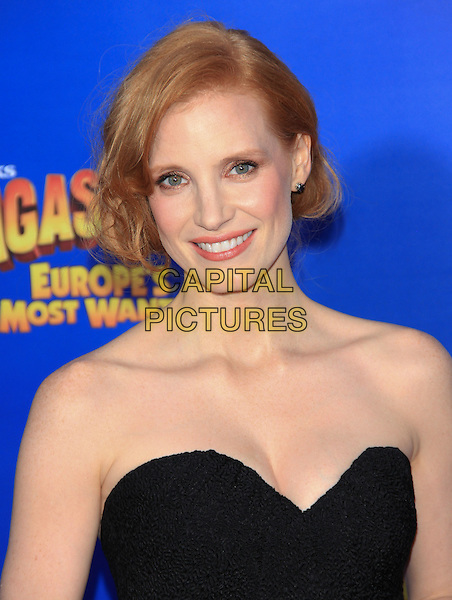 "Jessica Chastain.The New York Premiere of ""Madagascar 3: Europe's Most Wanted"" held at Ziegfeld Theater, New York, NY, USA..June 7th, 2012.headshot portrait black strapless .CAP/LNC/TOM.©LNC/Capital Pictures."