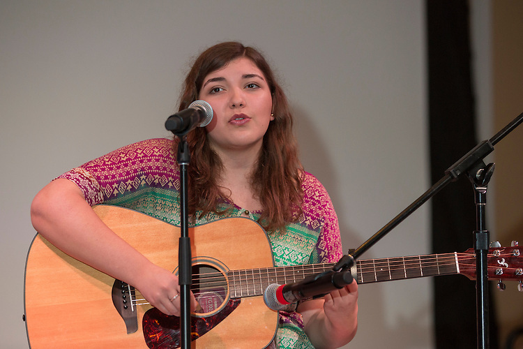 Alisa Martinez, a freshman at Ohio University, performs at the International Women's Day Festival on March 13, 2016. Photo by Emily Matthews