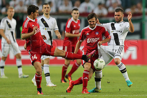 03.08.2016, Warsaw, Poland,  Jakub Holubek (Trencin), Peter Klescik (Trencin), Nemanja Nikolic (Legia), Legia Warsaw versus AS Trencin, Champions League, qualification. The game  ended in a 0-0 draw with Legio going through on away goal.