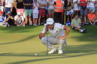 Haotong Li (CHN) lines up his putt to win the playoff hole at the end of Sunday's Final Round of the 2018 Turkish Airlines Open hosted by Regnum Carya Golf &amp; Spa Resort, Antalya, Turkey. 4th November 2018.<br /> Picture: Eoin Clarke | Golffile<br /> <br /> <br /> All photos usage must carry mandatory copyright credit (&copy; Golffile | Eoin Clarke)