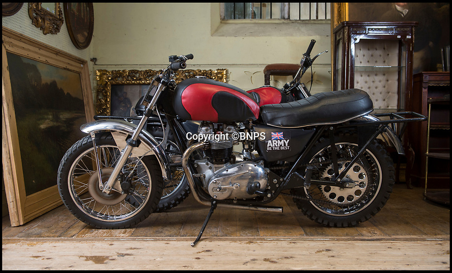 BNPS.co.uk (01202 558833)Pic: PhilYeomans/BNPS<br /> <br /> Modern classics - Two of the White Helmet bikes.<br /> <br /> TA member of the Army's White Helmets has bought back his beloved bike after it went up for auction following the axing of the daring motorcycle display team.<br /> <br /> Corporal Aidy Mackie paid £11,200 for the Triumph machine that he couldn't bear to part with after the popular group was disbanded in August.<br /> <br /> The Army put six of the bikes up for auction in Dorset which Aidy, 31, attended and saw off rival bidders.