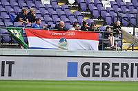 20190813 - ANDERLECHT, BELGIUM : Linfield's fans  pictured during the female soccer game between the Belgian RSCA Ladies – Royal Sporting Club Anderlecht Dames  and the Northern Irish Linfield ladies FC , the third and final game for both teams in the Uefa Womens Champions League Qualifying round in group 8 , Tuesday 13 th August 2019 at the Lotto Park Stadium in Anderlecht  , Belgium  .  PHOTO SPORTPIX.BE   DIRK VUYLSTEKE