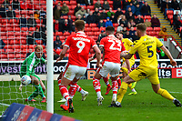 Fleetwood Town's Wes Burns scores his side's second goal <br /> <br /> Photographer Richard Martin-Roberts/CameraSport<br /> <br /> The EFL Sky Bet League One - Barnsley v Fleetwood Town - Saturday 13th April 2019 - Oakwell - Barnsley<br /> <br /> World Copyright &not;&copy; 2019 CameraSport. All rights reserved. 43 Linden Ave. Countesthorpe. Leicester. England. LE8 5PG - Tel: +44 (0) 116 277 4147 - admin@camerasport.com - www.camerasport.com