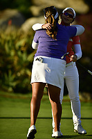 The 2018 Kia Classic Champion Eun-Hee Ji (KOR) hugs playing partner Lizette Salas (USA) during the Final Round at the Kia Classic,Park Hyatt Aviara Resort, Golf Club &amp; Spa, Carlsbad, California, USA. 3/25/18.<br /> Picture: Golffile | Bruce Sherwood<br /> <br /> <br /> All photo usage must carry mandatory copyright credit (&copy; Golffile | Bruce Sherwood)