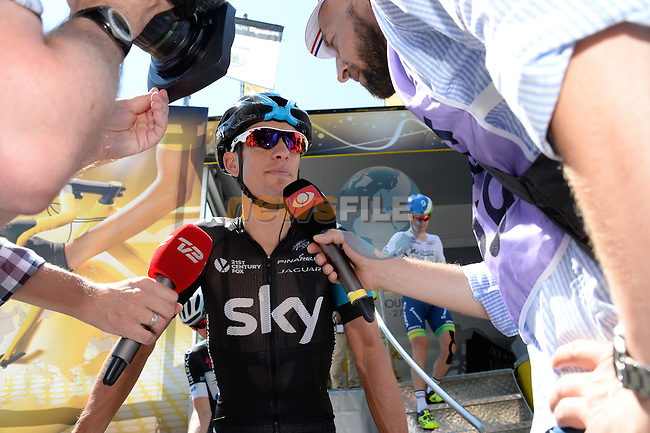 Richie Porte (AUS) Team Sky faces the media before the start of Stage 11 of the 2014 Tour de France running 187.5km from Besancon to Oyonnax. 16th July 2014.<br /> Photo ASO/B.Bade/www.newsfile.ie