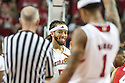 January 20, 2014: Terran Petteway (5)  smiles at teammate Deverell Biggs (1) of the Nebraska Cornhuskers after a play goes their way against the Ohio State Buckeyes at the Pinnacle Bank Arena, Lincoln, NE. Nebraska won in the game against Ohio State 68 to 62.