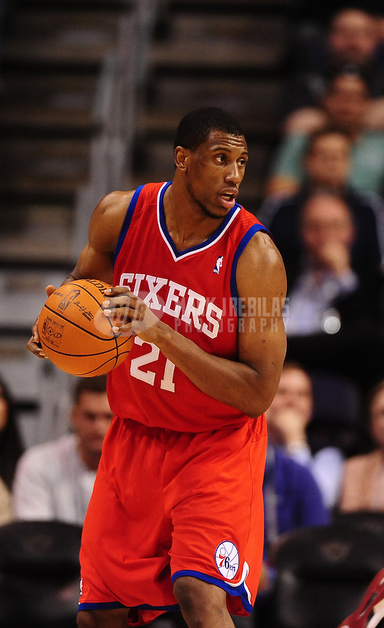 Dec. 28, 2011; Phoenix, AZ, USA; Philadelphia 76ers forward Thaddeus Young during game against the Phoenix Suns at the US Airways Center. The 76ers defeated the Suns 103-83. Mandatory Credit: Mark J. Rebilas-USA TODAY Sports