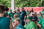 05.07.2019, Parkstadion, Zell am Ziller, AUT, TL Werder Bremen Zell am Ziller / Zillertal Tag 01<br /> <br /> im Bild<br /> Uwe Schindler Initiator des Plakat / Banner von Fans am Trainingsplatz / vor Eingang Kabine in Zell am Ziller mit von Fans ausgerufenem Saisonziel Europa - spricht, <br /> <br /> Foto © nordphoto / Ewert