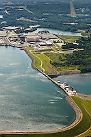 Aerial photo of the Cowans Ford Dam, McGuire Nuclear Station and Marshall Steam Station taken May 2008.