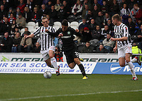 David Barron gets the better of Anthony Watt in the St Mirren v Celtic Clydesdale Bank Scottish Premier League match played at St Mirren Park, Paisley on 20.10.12.