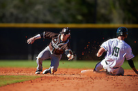 St. Bonaventure Bonnies second baseman Jared Baldinelli (6) catches a throws as Nate Ostmo (19) slides in during a game against the Dartmouth Big Green on February 25, 2017 at North Charlotte Regional Park in Port Charlotte, Florida.  St. Bonaventure defeated Dartmouth 8-7.  (Mike Janes/Four Seam Images)