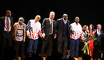 "Robert Manning Jr., Francois Battiste, Tug Coker, Larry Bird, Earvin 'Magic' Johnson, Kevin Daniels, Deirdre O'Connell, Fran Kirmser & Tony Ponturo.during the Broadway Opening Night Performance Curtain Call for ""Magic / Bird"" at the Longacre Theatre in New York City on April 11, 2012"