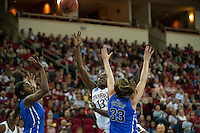 FRESNO, CA--Chiney Ogwumike throws up two en route to a 81-69 win over Duke at the Save Mart Center for the West Regionals Championship of the 2012 NCAA Championships. The Cardinal advances to the Final Four in Denver, facing Baylor in the semifinals.