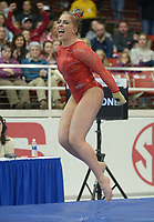 NWA Democrat-Gazette/ANDY SHUPE<br />Arkansas' Sydney McGlone celebrates Friday, Jan. 12, 2018, as she competes in the vault portion of the 11th-ranked Razorbacks' meet with sixth-ranked Kentucky in Barnhill Arena in Fayetteville. Visit nwadg.com/photos to see more photographs from the meet.