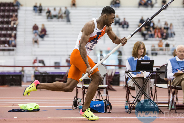 COLLEGE STATION, TX - MARCH 11: Jonathan Wells of Illinois competes in the pole vault section of the Heptathlon during the Division I Men's and Women's Indoor Track & Field Championship held at the Gilliam Indoor Track Stadium on the Texas A&M University campus on March 11, 2017 in College Station, Texas. (Photo by Michael Starghill/NCAA Photos/NCAA Photos via Getty Images)