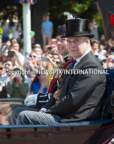 17.06.2017; London, UK: PRINCE ANDREW<br /> joined other members of the royal family for the Trooping The Colour to celebrate the Queen&rsquo;s 91st Official Birthday<br /> Royals present included the Duke of Edinburgh, Prince Charles and Camilla, Duchess of Cornwall, Prince William, Kate Middleton, Prince George; Princess Charlotte; Prince Harry, Prince Andrew; Princess Beatrice, Princess Eugenie, Prince Edward, Princess Anne, Zara Phillips &amp; Mike Tindal, Prince and Princess Michael Of Kent, Lady Helen Taylor, Duke of Kent, Duke of Gloucester and Duchess of Gloucester,Peter Phillips and Autumn and Lady Amelia Windsor.<br /> Mandatory Credit Photo: &copy;Francis Dias/NEWSPIX INTERNATIONAL<br /> <br /> IMMEDIATE CONFIRMATION OF USAGE REQUIRED:<br /> Newspix International, 31 Chinnery Hill, Bishop's Stortford, ENGLAND CM23 3PS<br /> Tel:+441279 324672  ; Fax: +441279656877<br /> Mobile:  07775681153<br /> e-mail: info@newspixinternational.co.uk<br /> Usage Implies Acceptance of OUr Terms &amp; Conditions<br /> Please refer to usage terms. All Fees Payable To Newspix International