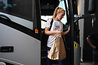 CHARLOTTE, NC - OCTOBER 03: Samantha Mewis #3 of the United States steps off the the team bus prior to their game versus Korea Republic at Bank of American Stadium, on October 03, 2019 in Charlotte, NC.