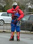 170318<br /> John Burke suits up during St Patricks Day parade in Ennis.Pic Arthur Ellis.