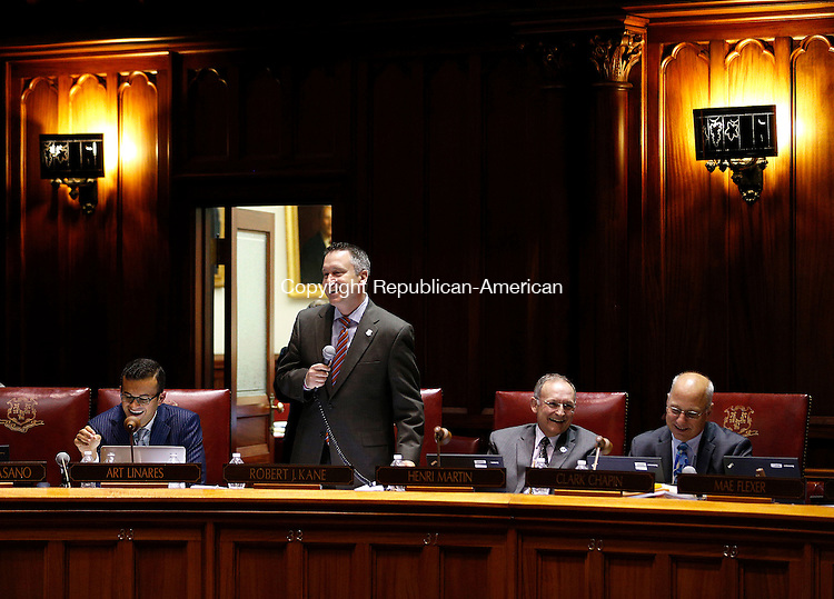 Hartford, CT- 03 June 2015-060315CM16-  State Senator Rob Kane (R-32) addresses fellow State Senators during a budget proposal inside the Senate Chamber at the State Capitol in Hartford on Wednesday.   Christopher Massa Republican-American
