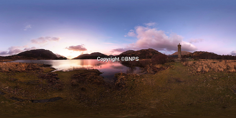 BNPS.co.uk (01202 558833)<br /> Pic: PhilYeomans/BNPS<br /> <br /> 360 Pano.<br /> <br /> Take a look around the newly restored Glenfinnan Monument in beautiful Loch Sheil.<br /> <br /> One of Scotland's most popular landmarks, it has just completed a £170,000 restoration  to repair years of water damage.<br /> <br /> The 200-year-old Glenfinnan Monument, commemorates Bonny Prince Charlies's landing there at the start of the 1745 Jacobite rising.