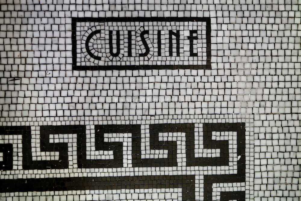 Floor mosaic detail at the entrance to the kitchen of Bouchon restaurant, Monaco, 23 March 2012