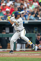 Michigan Wolverines outfielder Jordan Brewer (22) at bat during Game 1 of the NCAA College World Series against the Texas Tech Red Raiders on June 15, 2019 at TD Ameritrade Park in Omaha, Nebraska. Michigan defeated Texas Tech 5-3. (Andrew Woolley/Four Seam Images)