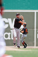 GCL Orioles third baseman Jared Gates (18) throws to first base during a game against the GCL Red Sox on August 9, 2018 at JetBlue Park in Fort Myers, Florida.  GCL Red Sox defeated GCL Orioles 10-4.  (Mike Janes/Four Seam Images)