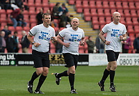Referee Charles Breakspear and officials warm up ahead of the Sky Bet League 2 match between Leyton Orient and Wycombe Wanderers at the Matchroom Stadium, London, England on 1 April 2017. Photo by Andy Rowland.
