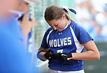 Basic Wolves' Shelby Basso reacts to making the final out against the Douglas Tigers in the NIAA 4A softball tournament, in Reno, Nev., on Thursday, May 17, 2018. Douglas won 8-5. Cathleen Allison/Las Vegas Review-Journal