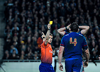 Referee Luke Pearce yellow cards France's Paul Gabrillagues during the Steinlager Series international rugby match between the New Zealand All Blacks and France at Eden Park in Auckland, New Zealand on Saturday, 9 June 2018. Photo: Dave Lintott / lintottphoto.co.nz