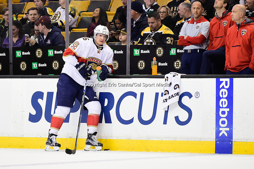 Monday, December 5, 2016: Florida Panthers center Aleksander Barkov (16) warms up before the start of the National Hockey League game between the Florida Panthers and the Boston Bruins held at TD Garden, in Boston, Mass. Boston defeats Florida 4-3 in overtime. Eric Canha/CSM