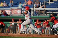 Auburn Doubledays Wilmer Perez (20) bats during a NY-Penn League game against the Batavia Muckdogs on June 18, 2019 at Dwyer Stadium in Batavia, New York.  Batavia defeated Auburn 7-5.  (Mike Janes/Four Seam Images)