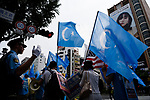 JUNE 29, 2019 - Protestors carry East Turkestan flags, a symbol of Uyghur independence, at a demonstration against the Chinese government's treatment of the Uyghur ethnic group during the G20 Summit in Osaka, Japan. (Photo by Ben Weller/AFLO) (JAPAN) [UHU]