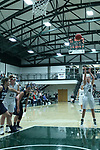 23 February 2018:  Ashley Schneider gets a free shot during an NCAA women's CCIW Semi-Final basketball game between the Elmhurst Bluejays and the Illinois Wesleyan Titans in Shirk Center, Bloomington IL
