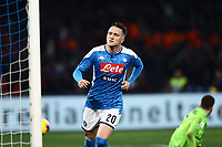 26th January 2020; Stadio San Paolo, Naples, Campania, Italy; Serie A Football, Napoli versus Juventus; Piotr Zielinski of Napoli celebrates after scoring in the 63rd minute for 1-0