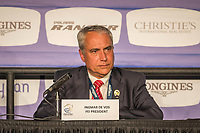 The press conference with the FEI and Organising Committee: Igmar de Vos (FEI President). 2018 FEI World Equestrian Games Tryon. Sunday 23 September. Copyright Photo: Libby Law Photography