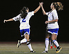 Nassau Team No. 18 Jen Wahlig (Clarke HS), right, gets congratulated by No. 2 Kayla Dieppa (Clarke HS) after she scored a goal in the first of two Long Island varsity girls' soccer senior all-star games against Suffolk at Bethpage High School on Friday, November 27, 2015.<br /> <br /> James Escher